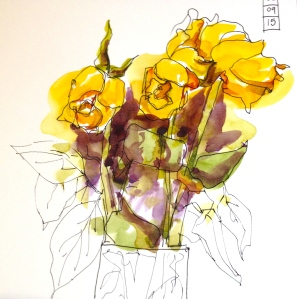 Dead yellow roses